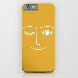 Wink (Mustard Yellow) iPhone Case