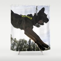 german shepherd Shower Curtains featuring German Shepherd Police Dog by BravuraMedia