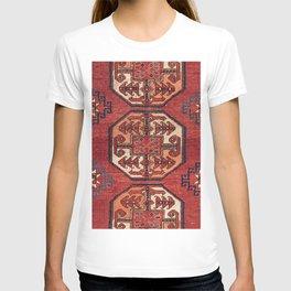 Orange Red Turkestan Medallions II 19th Century Authentic Colorful Geometric Vintage Patterns T-shirt