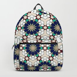 Moroccan geometric pattern blue green and off-white Backpack