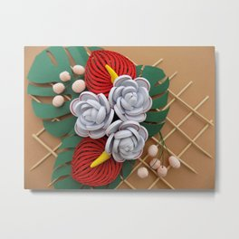 Anthurium Rose Flowers Paper Quilling Metal Print
