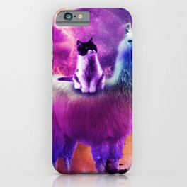 Kitty Cat Riding On Rainbow Llama In Space iPhone Case