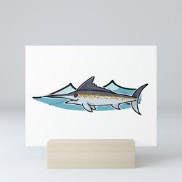 Cute ocean marlin cartoon illustration motif set. Mini Art Print