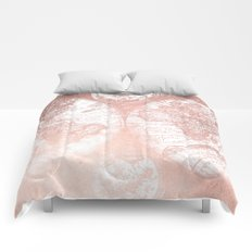 Rose Gold Pink Antique World Map Comforters