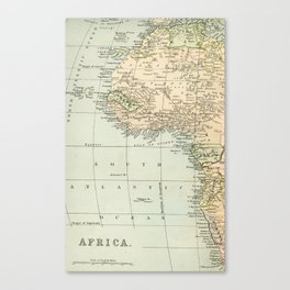 West  & North Africa Vintage Map Canvas Print