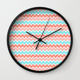 Coral Peach Pink and Aqua Turquoise Blue Chevron Wall Clock