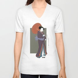 Geisha Giving You The Finger Unisex V-Neck