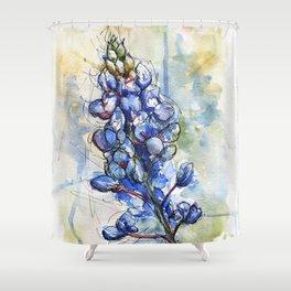 Spring Watercolor Texas Bluebonnet Flowers Shower Curtain