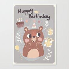 Happy Birthday Bear! Canvas Print