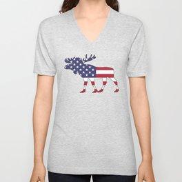 "Moose ""American Flag"" Unisex V-Neck"