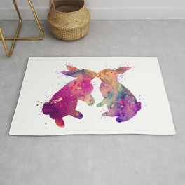 Rabbits Kissing Art Colorful Purple Watercolor Gift Rug