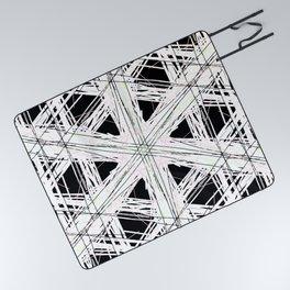Black & white rattan pattern w/ peekaboo pink and green strings Picnic Blanket