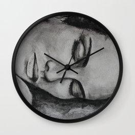 Art, drawing portrait of beautiful model Wall Clock