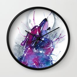 Galaxy Wolf Wall Clock