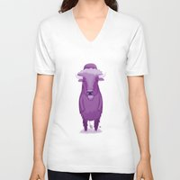 bison V-neck T-shirts featuring Bison by Margriet Kats