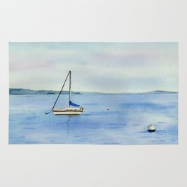 Boat in Maine Watercolor Painting Rug