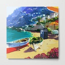 Tardis And The Beach Metal Print