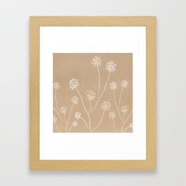 Dandelions flowers illustration on beige kraft Framed Art Print
