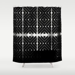 MONOCHROMA Geometrica : Black & White Box Pattern Shower Curtain