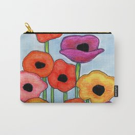 Colorful Poppies on Blue Carry-All Pouch