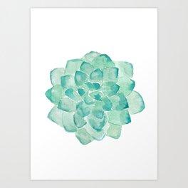 Watercolor Succulent print in seafoam green Art Print