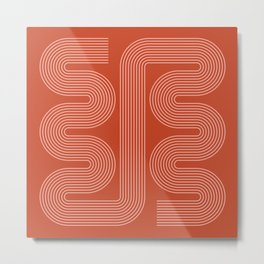 Geometric Lines in Rust and Rose Gold 9 (Mid century Midern Rainbow Abstract) Metal Print
