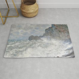 Rough weather at Etretat by Claude Monet, 1883 Rug