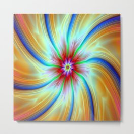 Streamers and Flares in Blue Orange and Red Metal Print