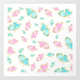 Pretty pink teal gold watercolor cute butterfly Art Print