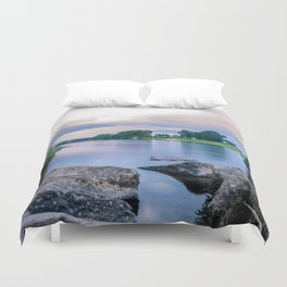 Long Exposure Photo of The River Tay in Perth Scotland Duvet Cover