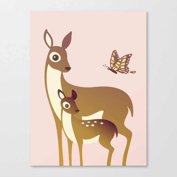 11157f699ca0c Mom and Baby Deer with Butterfly Canvas Print by ...