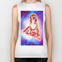Outer Space Galaxy Dog Riding Pizza Biker Tank