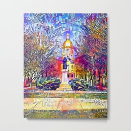 Father Sorin Statue on Notre Dame Main Quad Metal Print