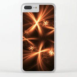Orange abstract fractal as firework. Holiday theme. Clear iPhone Case