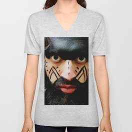 Colombian Tribal Bear Mark Of Courage by Wendy C Vega Unisex V-Neck
