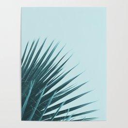 Blue Palm Leaf Poster
