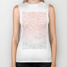 Pink Rose Gold Glitter and Marble Biker Tank