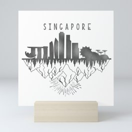 Singapore skyline // urban jungle // black & white // minimalist Mini Art Print