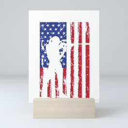 Biathlon Racing US Flag design Skiing Rifle Shooting Race Mini Art Print