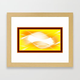 Background of white waves. Geometric pattern of white stripes and waves on a yellow background Framed Art Print