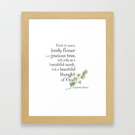 """Charlotte Mason """"Beautiful thought of God"""" Quote with Watercolor Leaves Framed Art Print"""
