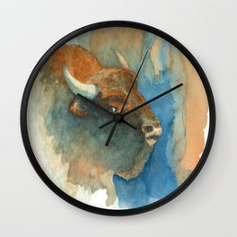 Wary Bison Wall Clock