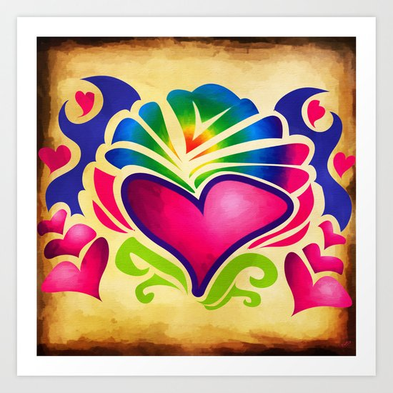Retro Hearts Art Print