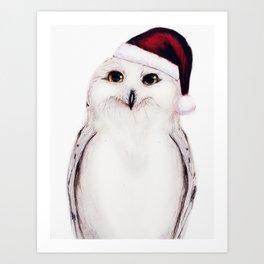 Snowy Christmas Owl  Art Print