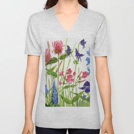Garden Flowers Botanical Floral Watercolor on Paper Unisex V-Neck