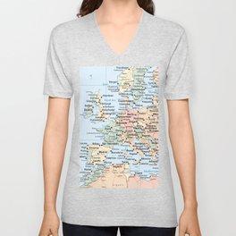 World Map Europe Unisex V-Neck