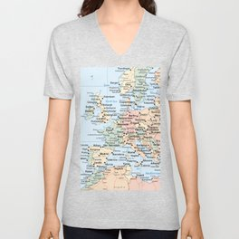 World Map Europe Unisex V-Neck