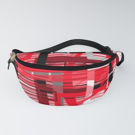 red black silver grey white abstract geometric art Fanny Pack