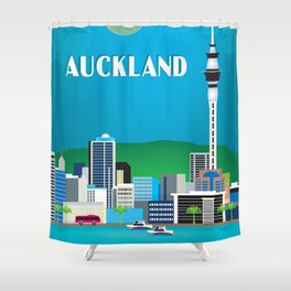 Auckland, New Zealand - Skyline Illustration by Loose Petals Shower Curtain