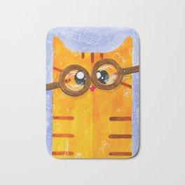 Funny Yellow Nerd Cat Bath Mat